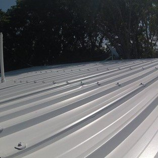 Metal roof in White